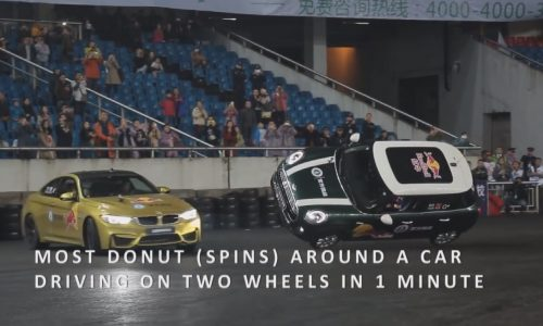 BMW M4 sets record for most donuts around car on two wheels