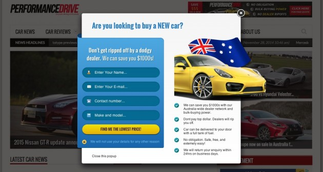 Car buying form