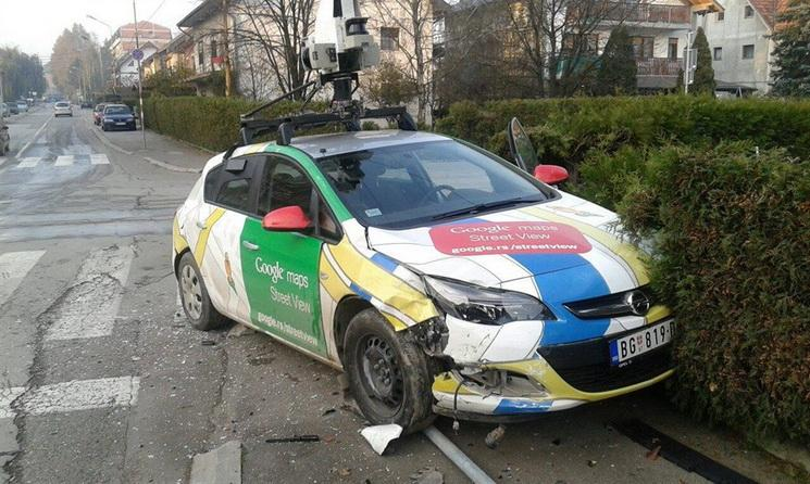 Opel Astra Google Street View car crashed in Serbia