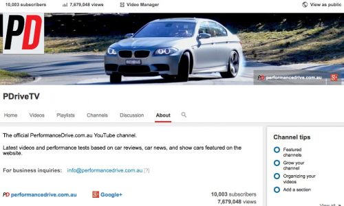 PerformanceDrive 'PDriveTV' YouTube channel hits 10,000 subscribers