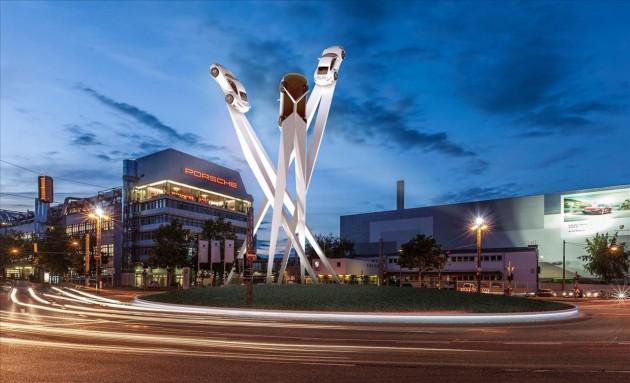 Porsche sculpture Zuffenhausen-roundabout