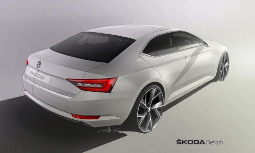 2015 Skoda Superb previewed again, rear end revealed