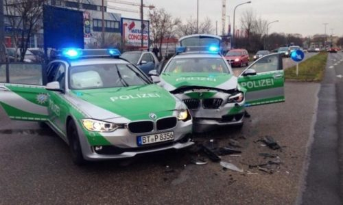 BMW police cars crash into each other responding to robbery
