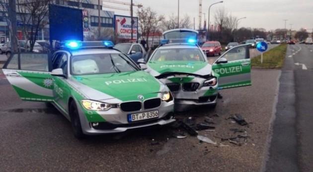 BMW police car crash in Bamberg