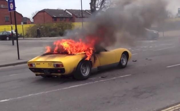 Lamborghini Miura fire-London