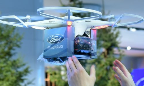 Ford hands out F-150 Raptors by drone at Detroit Auto Show