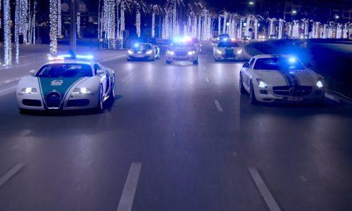 Dubai police patrol the night in style; Bugatti, Ferrari (video)