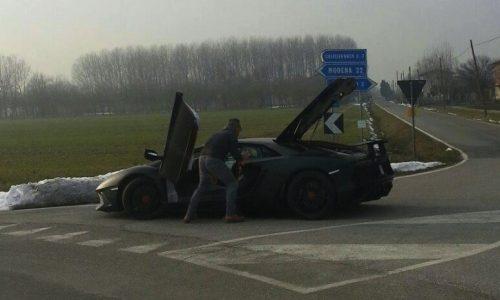 Lamborghini Aventador SV prototype spotted, broken down?