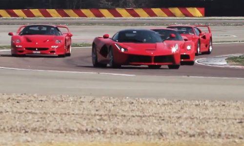Video: Ferrari F40, F50, Enzo, LaFerrari tour Fiorano for Benuzzi