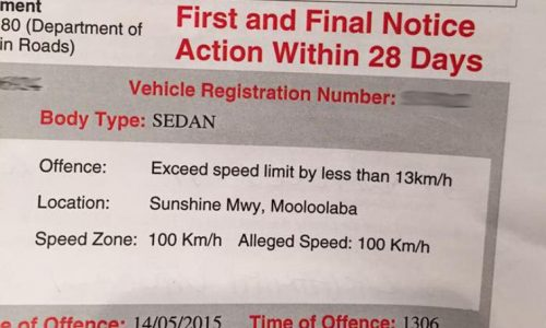 QLD driver gets fined for doing 100km/h in a 100km/h zone