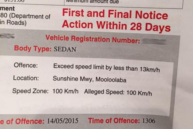 Driver fined 100kmh in 100kmh zone