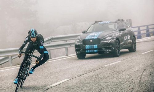 Jaguar F-Pace prototype being used as support car in Tour de France