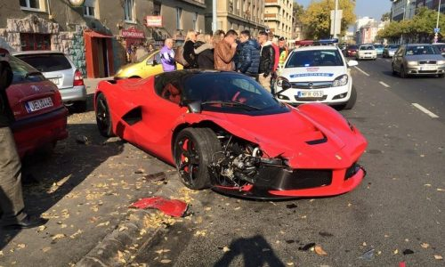LaFerrari crash in Hungary, hits 3 parked cars
