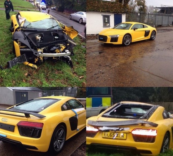 Audi R8 V10 crash-UK