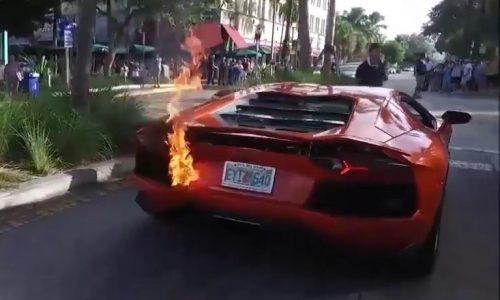 Video: Lamborghini Aventador catches fire during valet park