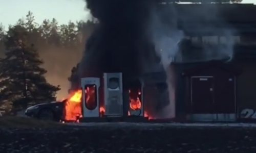 Tesla Model S catches fire at charging station in Norway