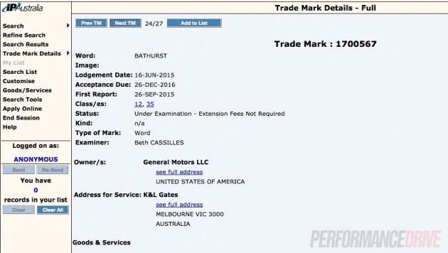 Holden Bathurst trademark
