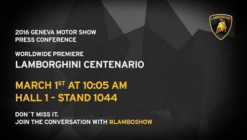 Lamborghini Centenario will debut at Geneva, name confirmed