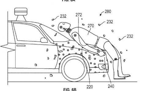 Google patents sticky bonnet for passenger safety
