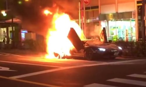 Video: Lamborghini Aventador catches fire in Tokyo