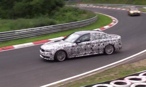 2017 BMW 'G30' 5 Series prototype pushed hard at Nurburgring (video)