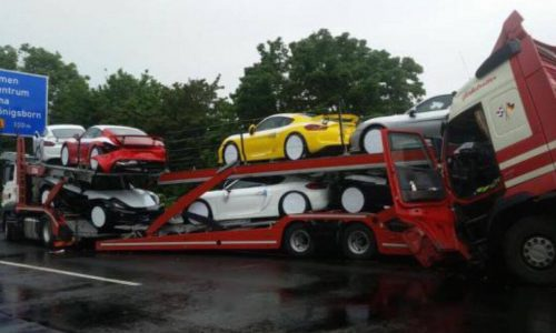 Truck hauling multiple Porsche Cayman GT4s gets rear-ended on autobahn
