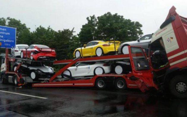 Porsche Cayman GT4 truck crash-1