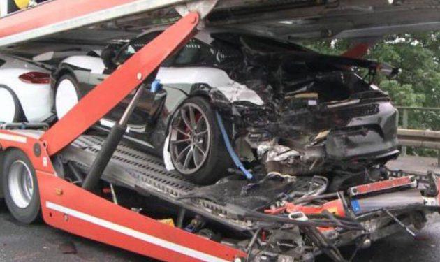 Porsche Cayman GT4 truck crash-2