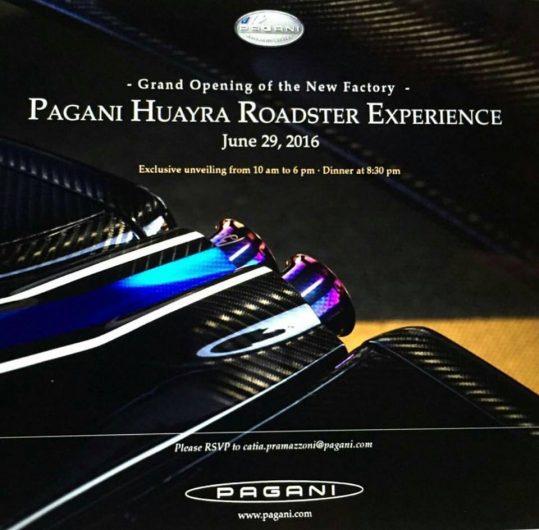 Pagani Huayra Roadster invite