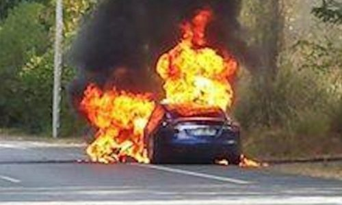 Tesla Model S catches fire during test drive in France