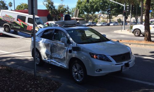 Google autonomous car gets punted by red-light runner
