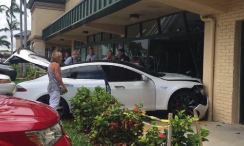 Tesla Mode S crashes into gym, driver blames car