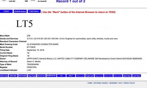 Chevrolet LT5 V8 engine on the way? GM trademark found