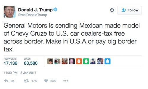 Trump warns GM via Twitter, Cruze production to remain in U.S.
