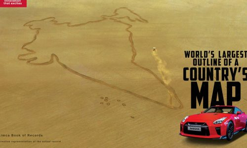 Nissan GT-R breaks record, carves map of India in lake