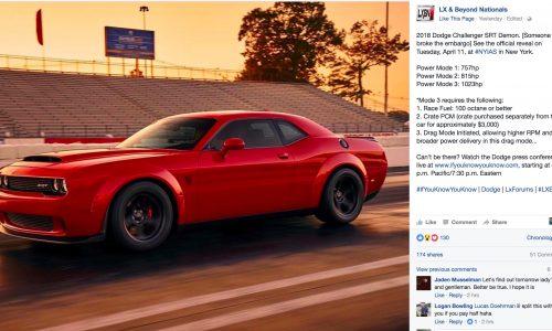 Dodge Challenger SRT Demon to offer up to 1023hp?