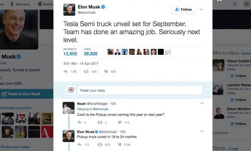 Elon Musk confirms Tesla truck debut in September