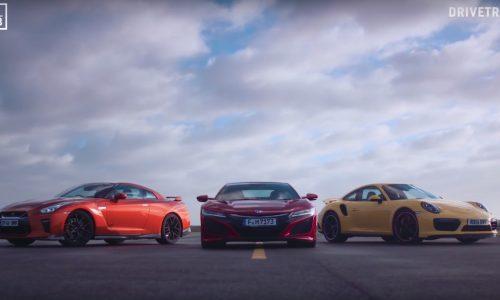 Honda NSX vs Nissan GT-R vs Porsche 911 Turbo: mega race (video)