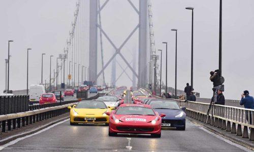 Ferrari parade shuts down bridge to celebrate Owners Club of GB 50th