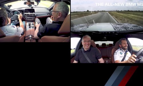 Timo Glock drives 2018 BMW M5, Dirk Hacker explains 4WD/2WD modes (video)