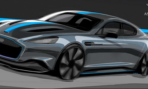 Aston Martin previews electric RapidE with sketches