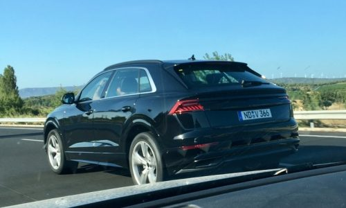 Audi Q8 spotted, swooping rear end revealed