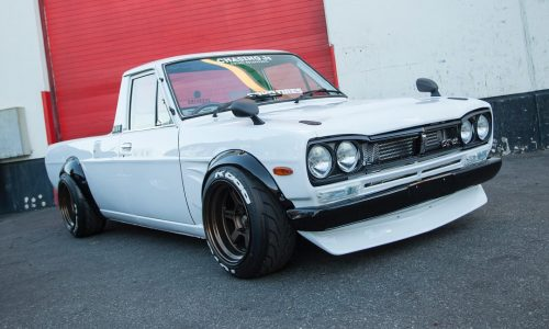 Datsun 1200 ute with Hakosuka Skyline front end conversion (video)