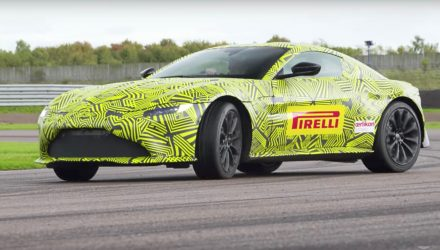 New Aston Martin Vantage previewed again, Verstappen test drives (video)
