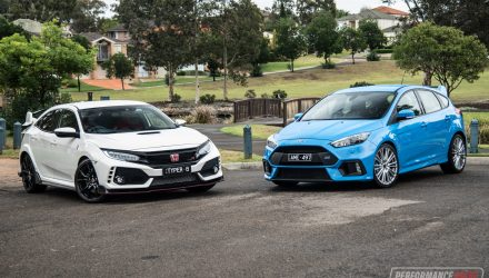 2018 Honda Civic Type R vs Ford Focus RS: hot hatch comparison (video)
