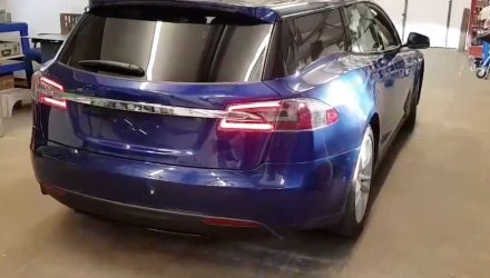 Tesla Model S wagon project complete, looks weird (video)