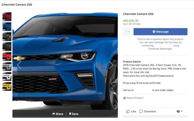 Hsv Chevrolet Camaro To Start From Au90000 Performancedrive