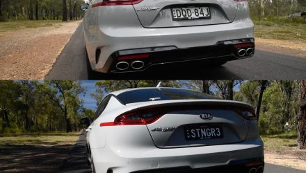 Kia Stinger V6 sports exhaust vs standard exhaust sound (video)