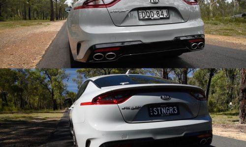 Kia Stinger V6 sports exhaust vs standard exhaust sound (video)