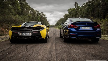 McLaren 570S vs BMW M4 CS; exhaust sound comparison (video)